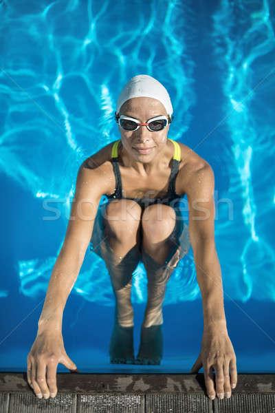 アスレチック 少女 泳ぐ プール いい スイマー ストックフォト © bezikus
