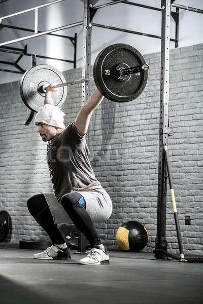 Crossfitの トレーニング バーベル 素晴らしい 男 あごひげ ストックフォト © bezikus
