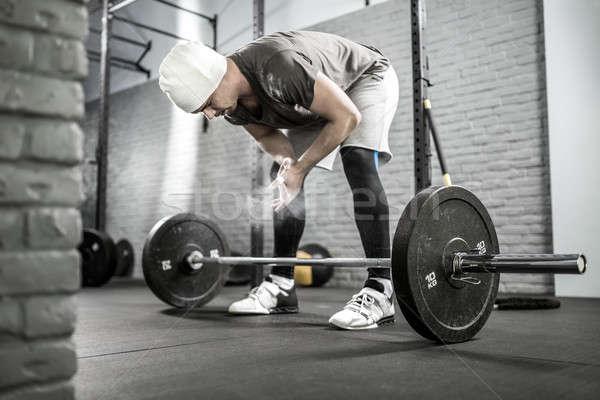 Crossfit edzés súlyzó egészséges fickó szakáll Stock fotó © bezikus