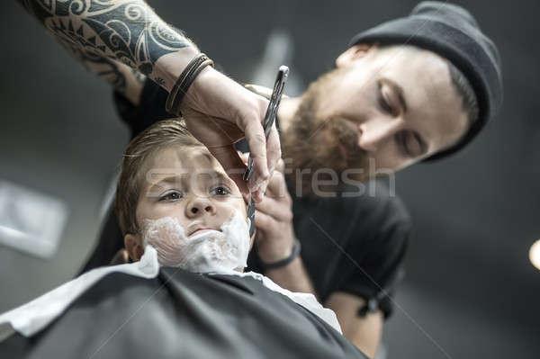 Vicces kicsi fiú gyerek hab arc Stock fotó © bezikus