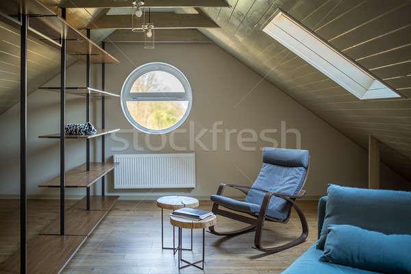 çatı katı modern tarzda modern ışık duvarlar zemin Stok fotoğraf © bezikus