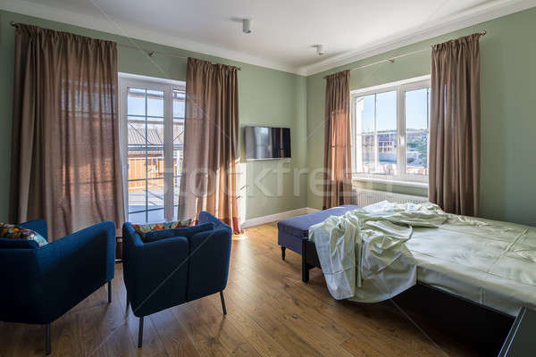 Hálószoba · modern · stílusú · elegáns · zöld · falak · padló ...