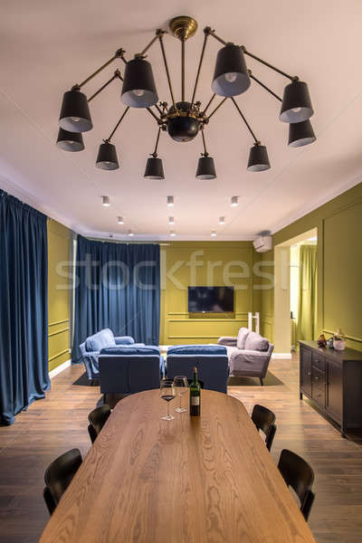 Sala stile moderno stanza giallo muri piano Foto d'archivio © bezikus