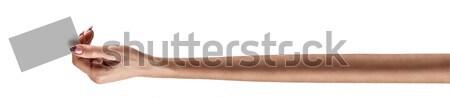 Extra lang hand vrouwen houden lege Stockfoto © bezikus