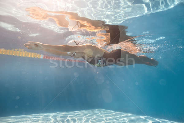 Swimmer in crawl style underwater Stock photo © bezikus