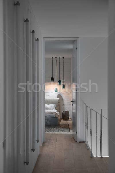 Interieur moderne stijl entree slaapkamer witte muren Stockfoto © bezikus