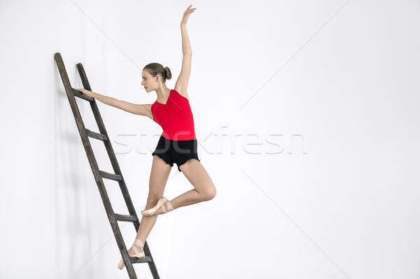балерины лестнице студию великолепный позируют Сток-фото © bezikus