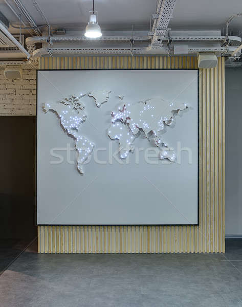 World map on the wall Stock photo © bezikus