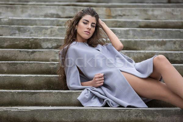 Girl on the stair Stock photo © bezikus