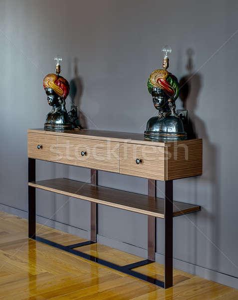 Rack bois trois tiroirs gris mur Photo stock © bezikus
