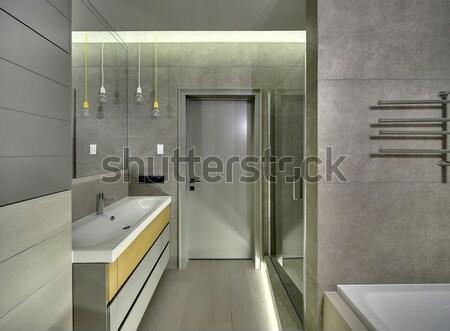 Salle de bain style moderne élégant tuiles murs étage Photo stock © bezikus