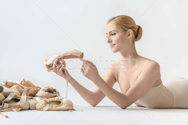 Ballerina with pointe shoes Stock photo © bezikus