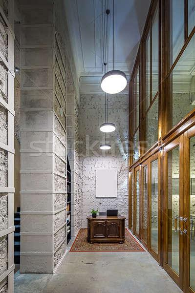 Salon çatı katı stil kafe ışık Stok fotoğraf © bezikus