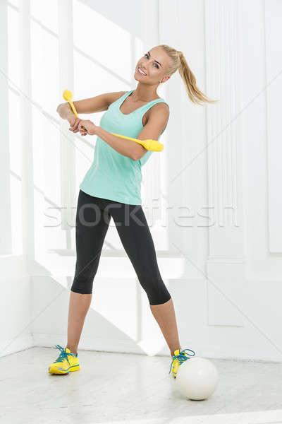 Ritmisch gymnast studio bal gymnastiek vrouw Stockfoto © bezikus