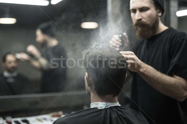 Barbier spray bouteille cool grand barbe Photo stock © bezikus