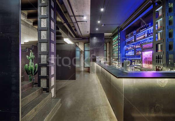 Bár étterem padlás stílus tégla beton Stock fotó © bezikus