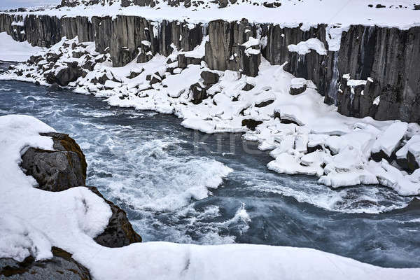 Panorama grezzo fiume freddo congelato canyon Foto d'archivio © bezikus