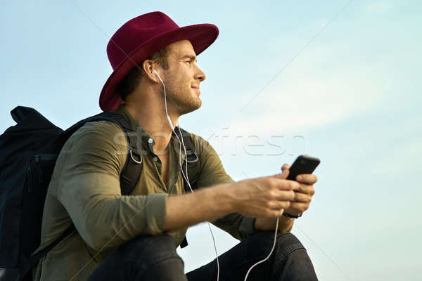 Tourist relaxing outdoors Stock photo © bezikus