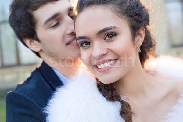 Close portrait of happy wedding couple Stock photo © bezikus