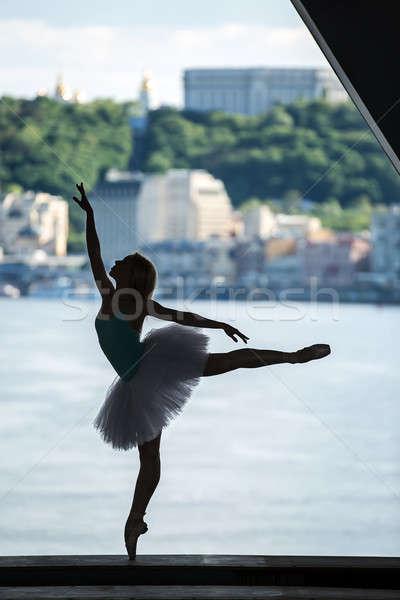 Silhouette of graceful ballerina in white tutu Stock photo © bezikus