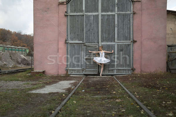 Ballerina in white tutu Stock photo © bezikus