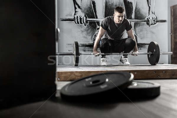 Edzés súlyzó tornaterem jóképű fickó szakáll Stock fotó © bezikus
