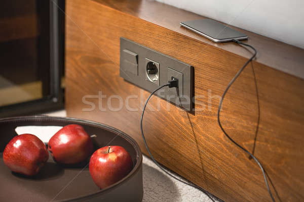 Power socket on wooden rack Stock photo © bezikus