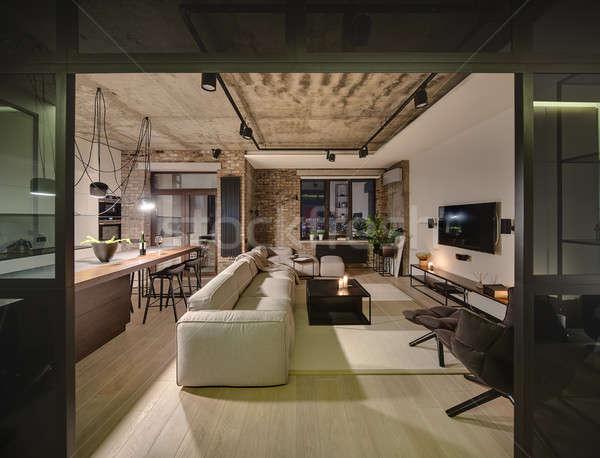Salle grenier style différent murs concrètes Photo stock © bezikus