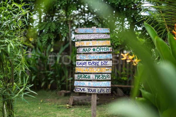 Colorful wooden signboard  Stock photo © bezikus