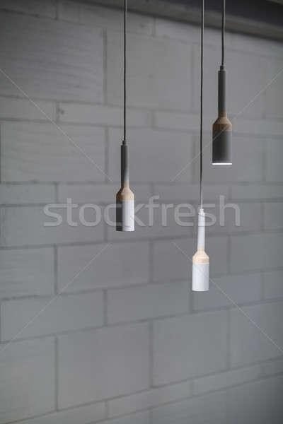 Lambalar çatı katı stil asılı Stok fotoğraf © bezikus