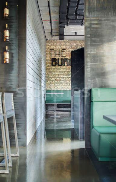 Kafe çatı katı stil restoran tuğla duvarlar Stok fotoğraf © bezikus