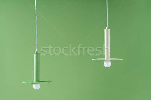 Metaal opknoping kleurrijk lampen twee metalen Stockfoto © bezikus
