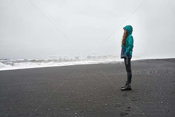 девушки позируют пляж очки черный Сток-фото © bezikus