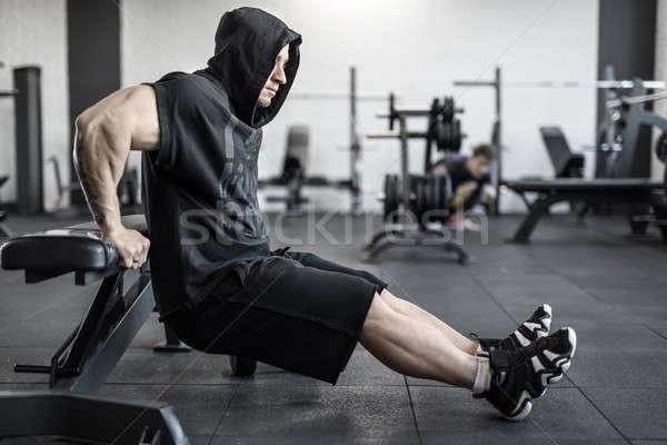 Brutális férfi tornaterem aktív nehéz izmok Stock fotó © bezikus