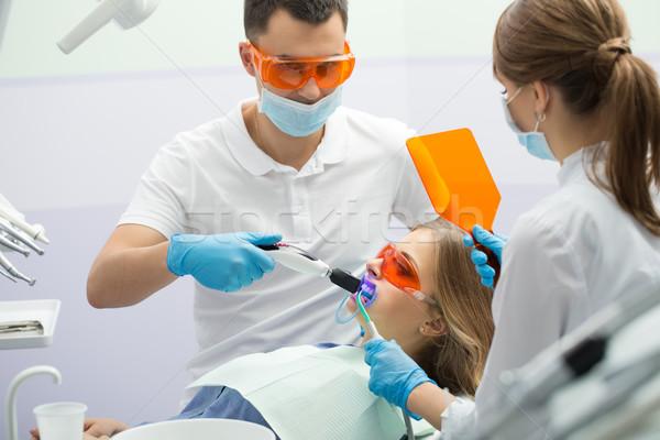 Diş doldurma lamba kız hasta Stok fotoğraf © bezikus