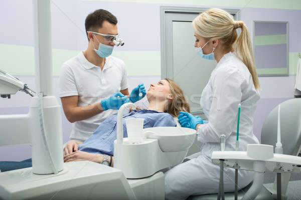 Dentista dentes menina paciente dental Foto stock © bezikus