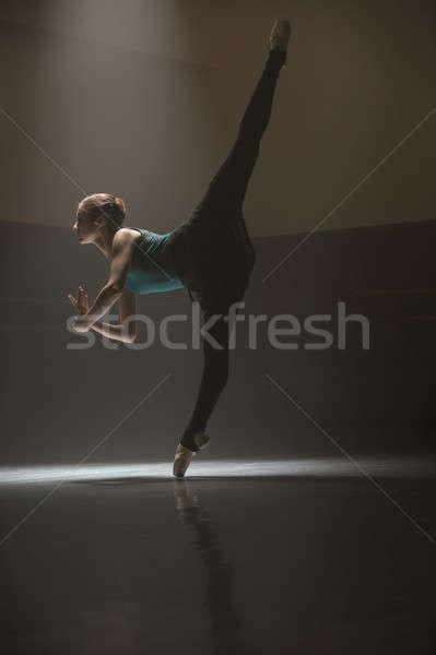 ストックフォト: ポーズ · バレリーナ · クラス · ルーム · 小さな · バレエダンサー