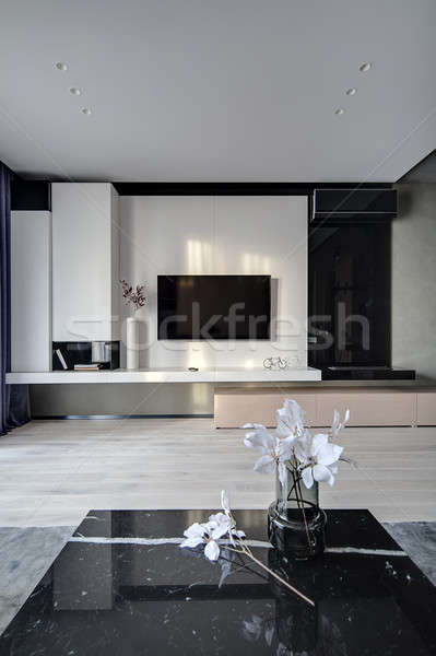 Interior estilo moderno sala tv blanco pared Foto stock © bezikus