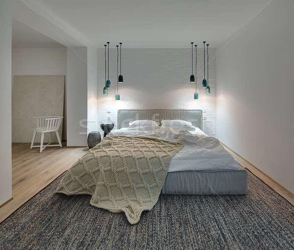 Stile moderno camera da letto bianco muri tappeto piano Foto d'archivio © bezikus