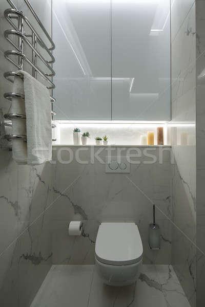 Luce bagno stile moderno piastrellato muri bianco Foto d'archivio © bezikus