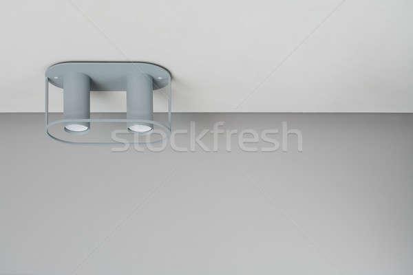 Gray double lamp on ceiling Stock photo © bezikus