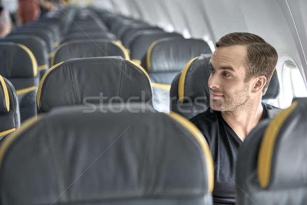 Foto stock: Bonito · cara · avião · homem · janela