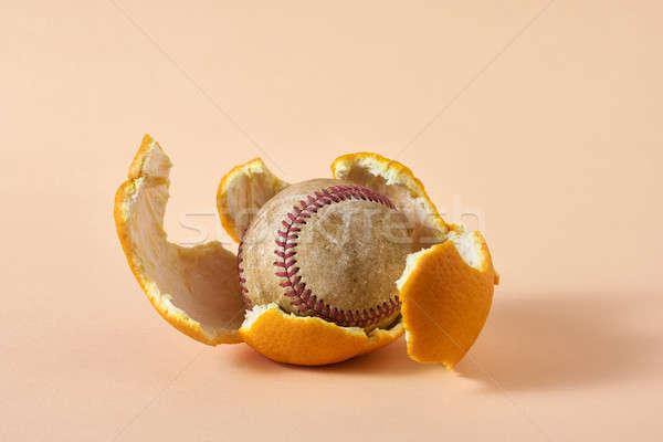 Baseball bal citrus oude oranje Stockfoto © bezikus