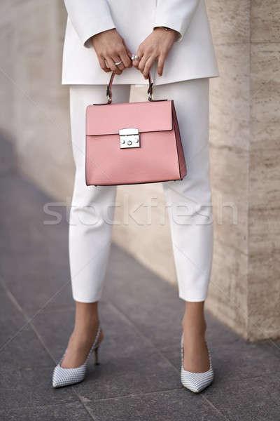 Foto stock: Modelo · saco · ao · ar · livre · beautiful · girl · posando · coral
