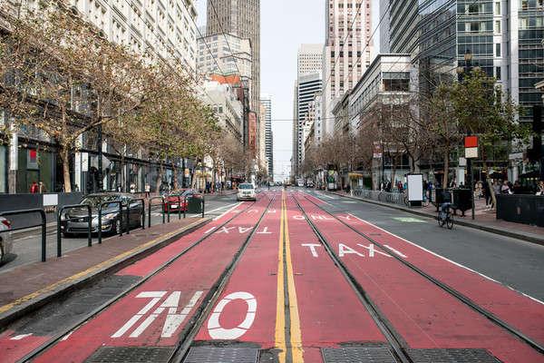 красивой Cityscape Сан-Франциско красный дорога трамвай Сток-фото © bezikus