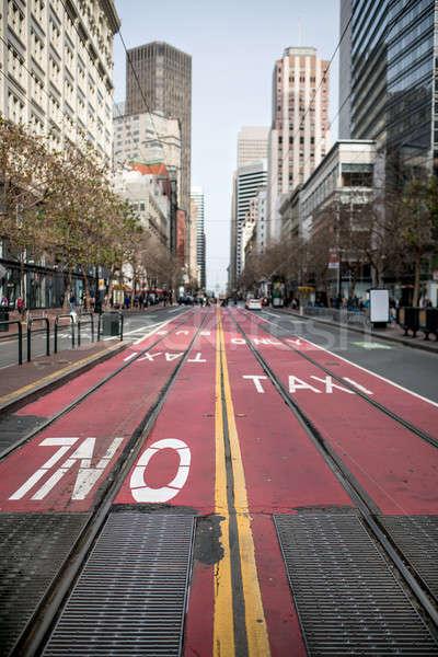Mooie stadsgezicht San Francisco straat Rood pad Stockfoto © bezikus