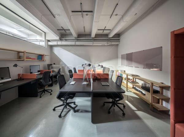 élégant bureau grenier style lumière murs Photo stock © bezikus