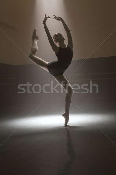 Ballerina in black leotard Stock photo © bezikus