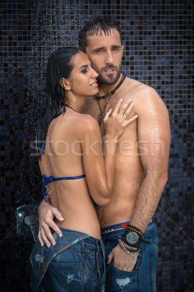 Paar douche jeans Stockfoto © bezikus