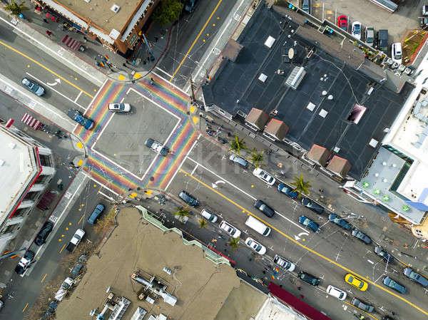 Belo cityscape San Francisco arco-íris Foto stock © bezikus
